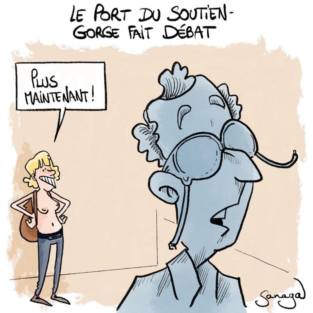 dessin presse humour port soutien-gorge image drôle débat féminisme