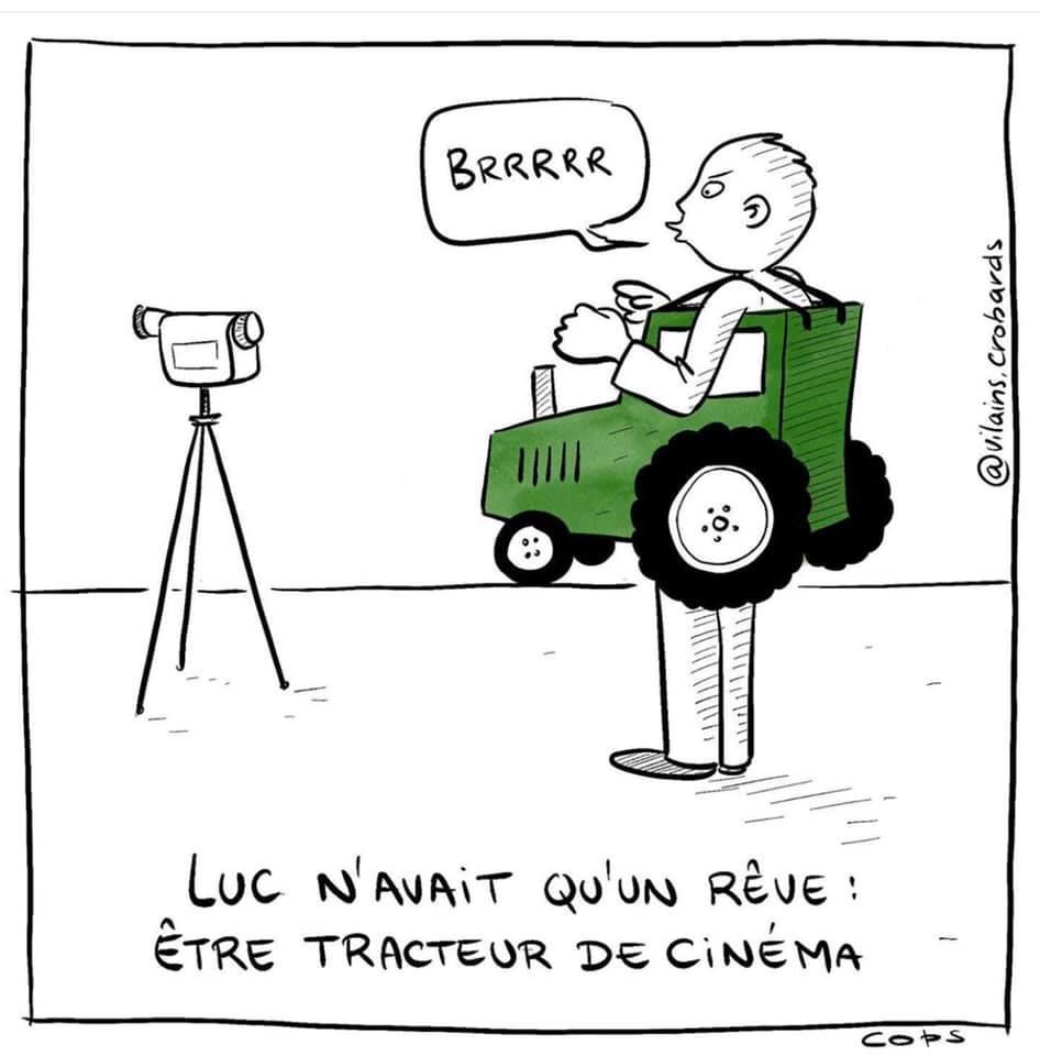 gag image drôle acteur cinéma dessin blague humour tracteur cinéma