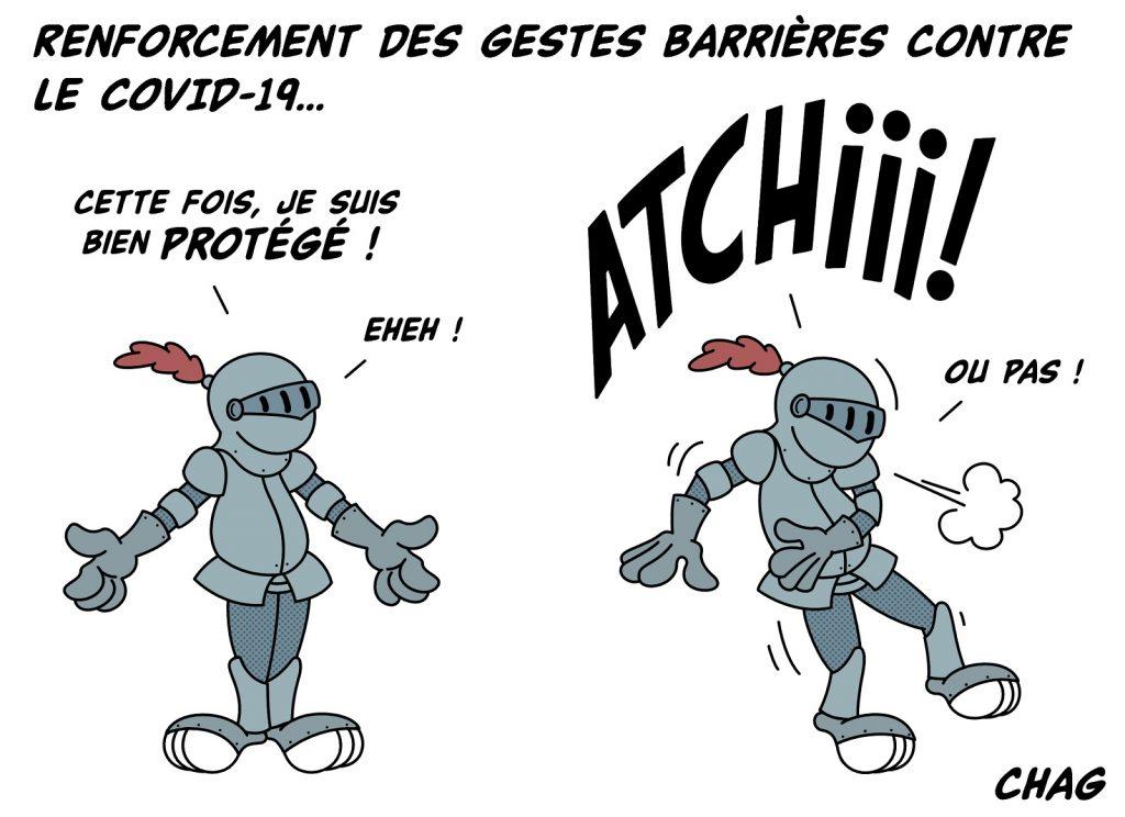 dessin humoristique coronavirus covid-19 image drôle armure gestes barrières