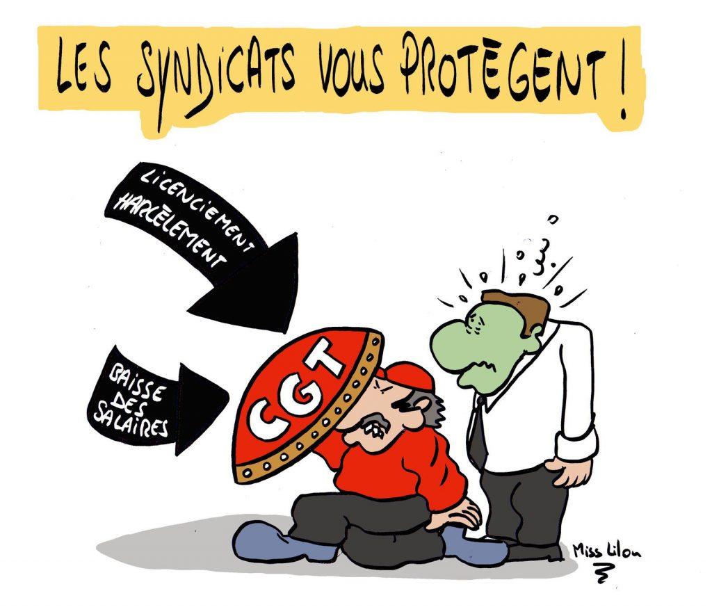 dessin presse humour salariés protection image drôle syndicat syndicalisme