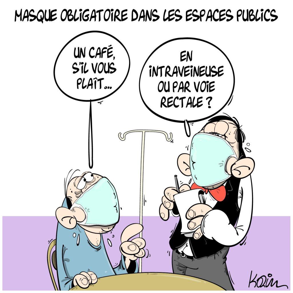 dessin presse humour Algérie coronavirus image drôle covid-19 port masque bars