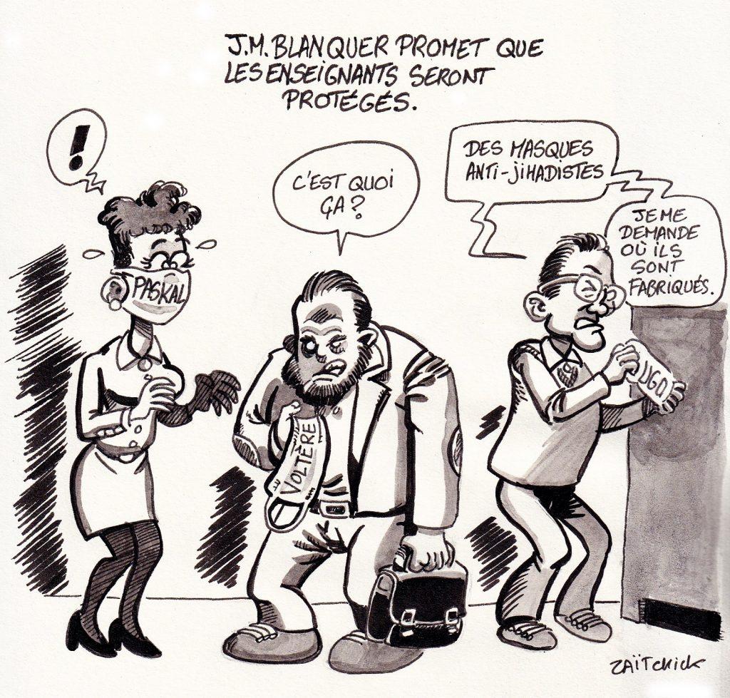 dessin presse humour Attentat Conflans image drôle Jean-Michel Blanquer masques protection