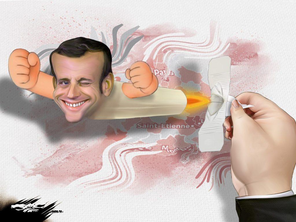 dessin presse humour Emmanuel Macron suppositoire image drôle coronavirus couvre-feu