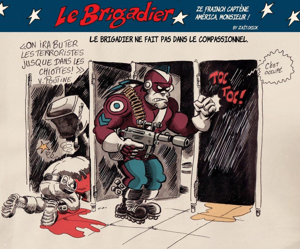 image drôle Le Brigadier dessin humour terroristes terrorisme chiottes