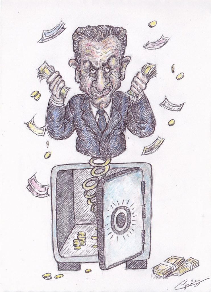 image drôle Nicolas Sarkozy dessin humour financement libyen association malfaiteurs
