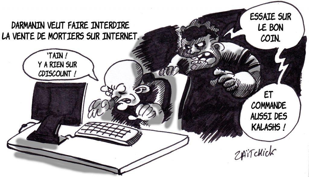 dessin presse humour interdiction mortiers image drôle attaque commissariat Champigny-sur-Marne