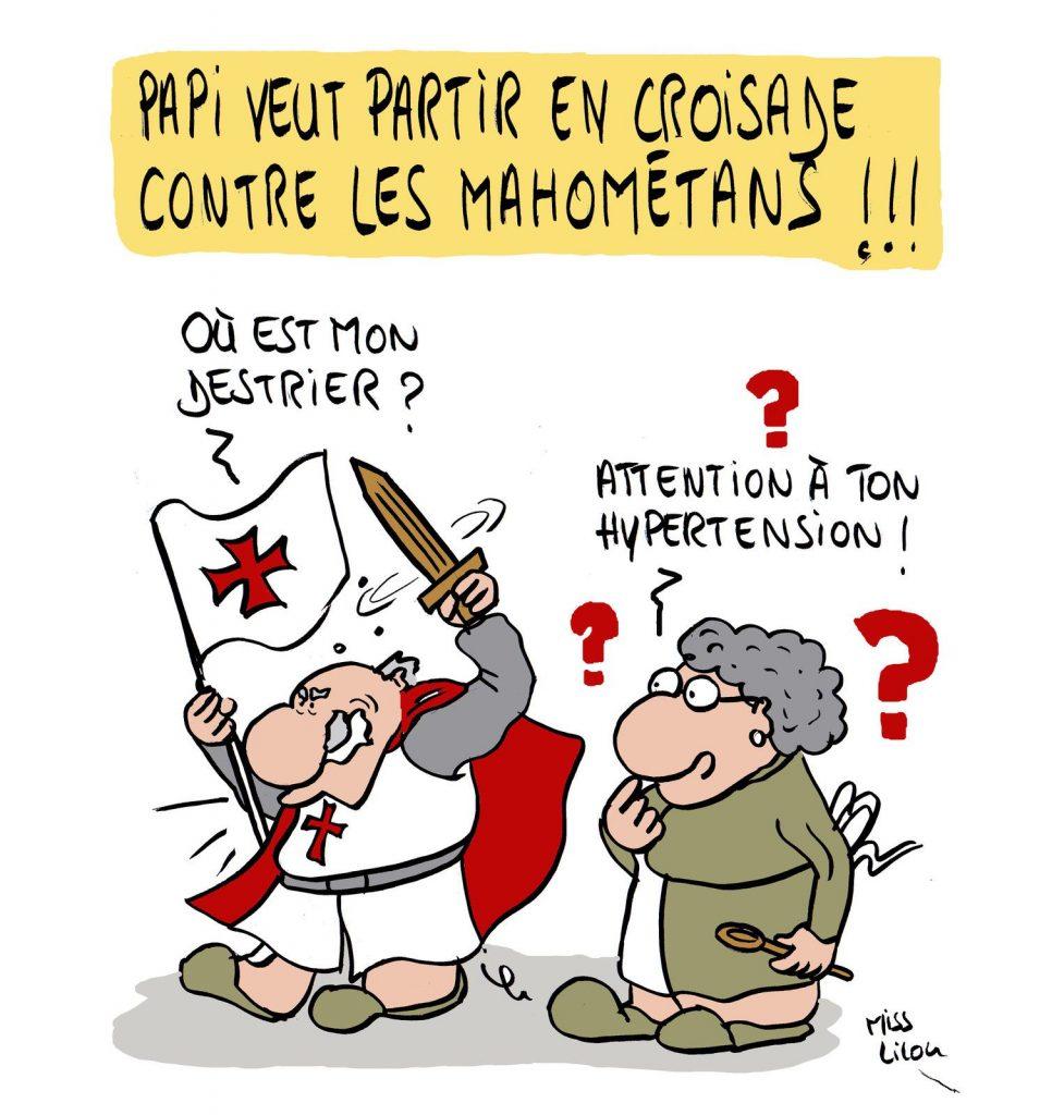 dessin presse humour islamiste croisades image drôle mahométans caricatures