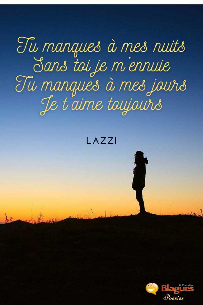 poésie poème Lazzi amour manque ennui nuits