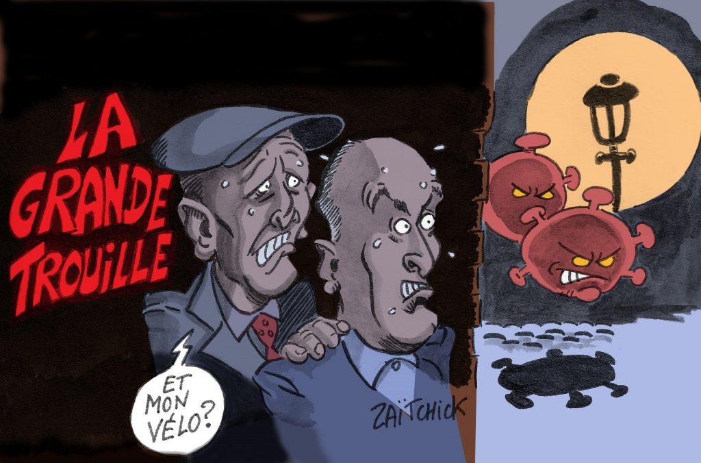 dessin presse humour coronavirus couvre-feu image drôle La Grande Vadrouille