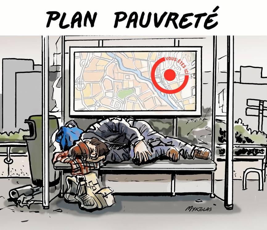 image drôle plan pauvreté dessin humour abribus