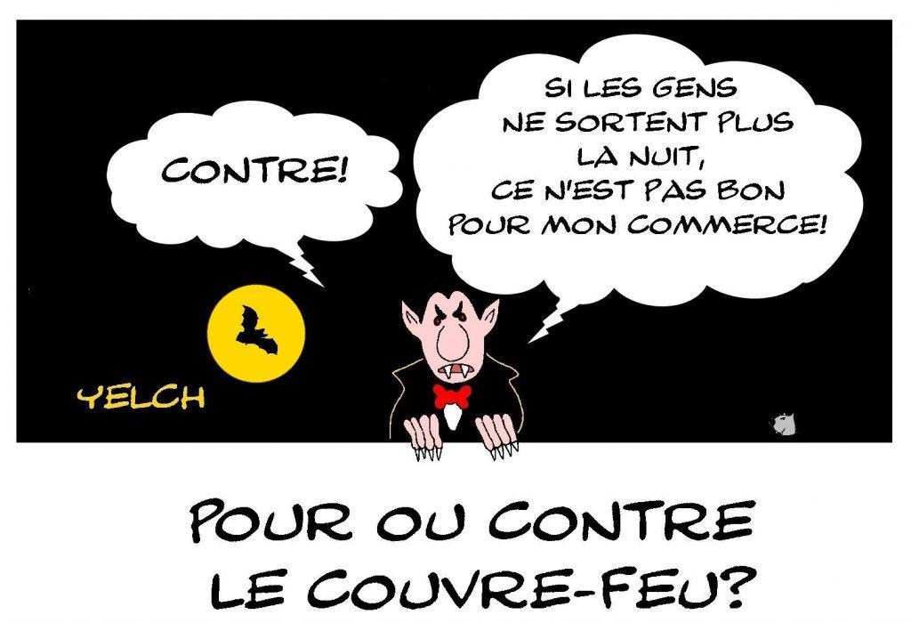 dessin presse humour coronavirus covid image drôle couvre-feu vampires