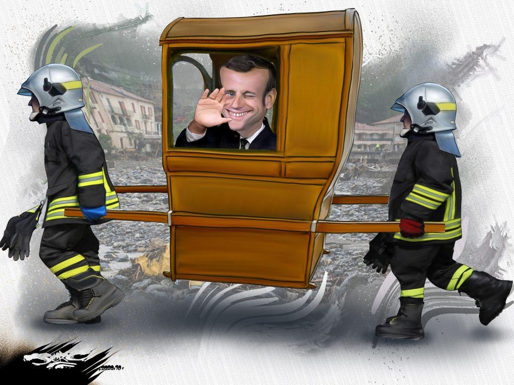 dessin presse humour Emmanuel Macron image drôle pompiers inondations Alpes-Maritimes