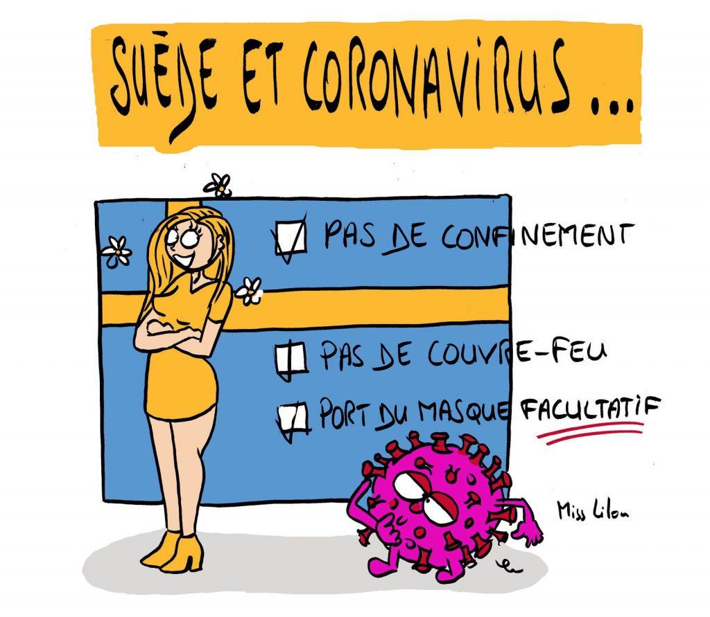 dessin presse humour coronavirus covid-19 image drôle Suède couvre-feu confinement