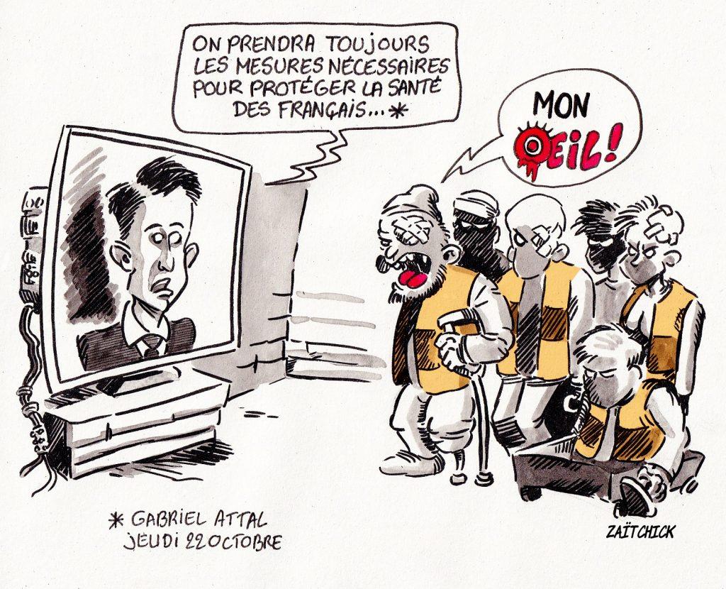 dessin presse humour coronavirus Gabriel Attal image drôle gilets jaunes santé français