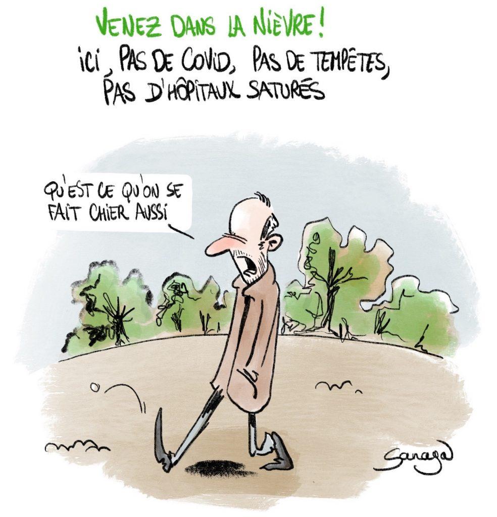 dessin presse humour coronavirus Nièvre image drôle tempêtes nivernais