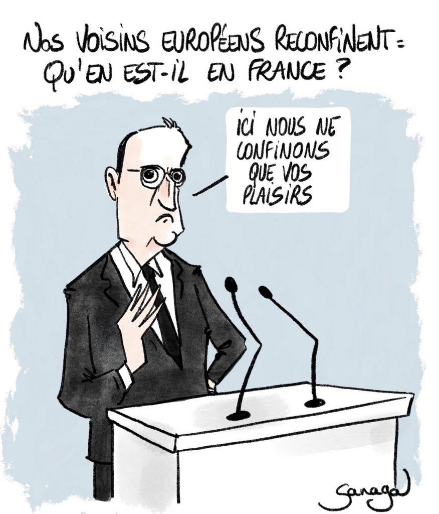 dessin presse humour coronavirus covid-19 image drôle Jean Castex couvre-feu confinement