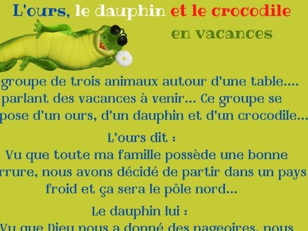 humour, blague France, blague français, blague animaux, blague ours, blague dauphin, blague crocodile, blague grande gueule, blague vacances, blague voyage