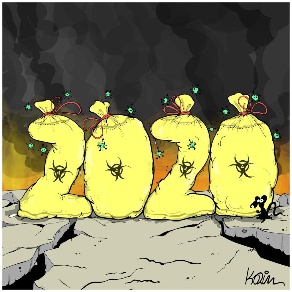 dessin presse humour année 2020 image drôle déchets biologiques