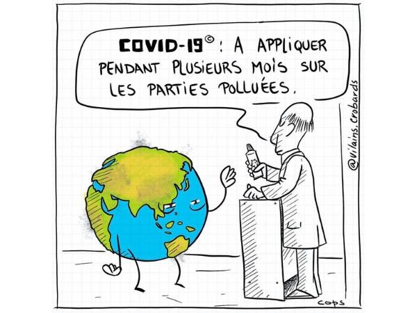 humour, dessin de Cops, Cops, jeu de mots, blague coronavirus, blague Covid-19, blague SARS-CoV-2, blague épidémie, blague pandémie, blague épidémie de coronavirus, blague pandémie de coronavirus, blague médicament, blague Terre, blague pollution, blague humanité, blague sauvons la planète, blague écologie, blague nettoyage, blague pommade, blague parasite, blague virus terrestre