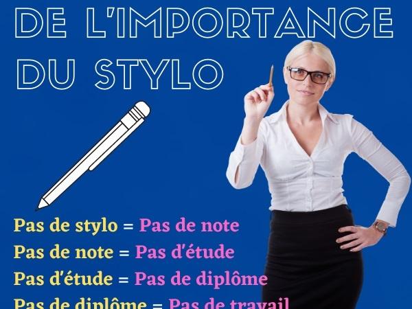 humour, blague stylo, blague vie, blague suicide, blague perte, blague engrenage, blague démonstration