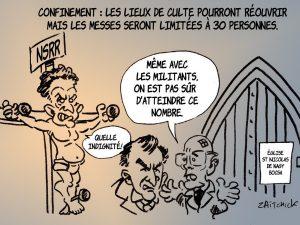 dessin presse humour déconfinement lieux de culte image drôle Nicolas Sarkozy