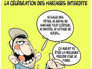 dessin presse humour coronavirus covid-19 image drôle Algérie interdiction des mariages