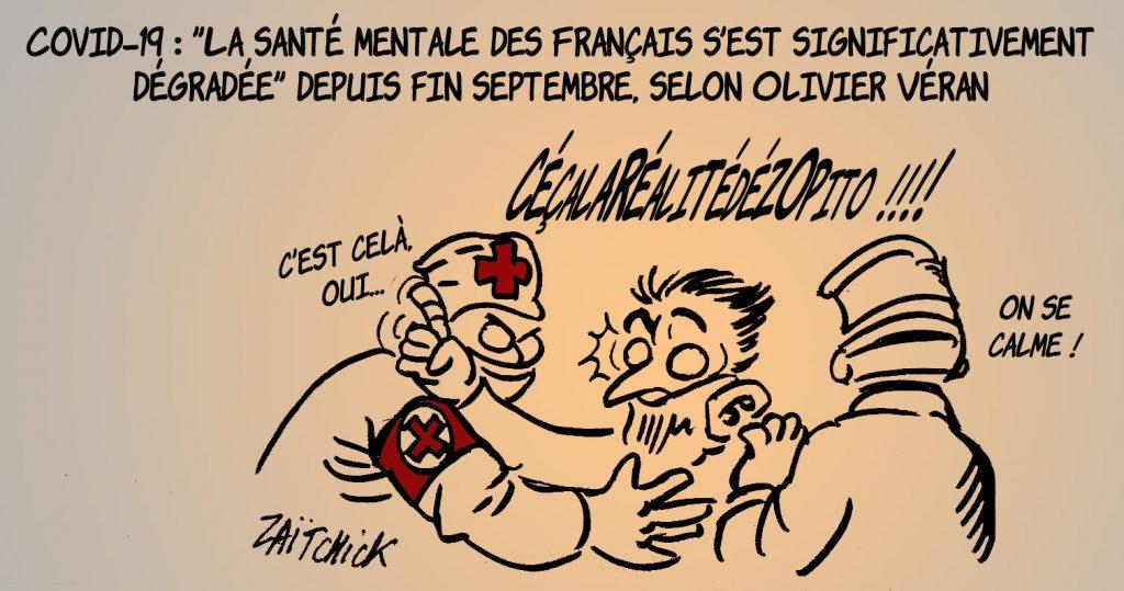 dessin presse humour santé mentale français image drôle Olivier Véran
