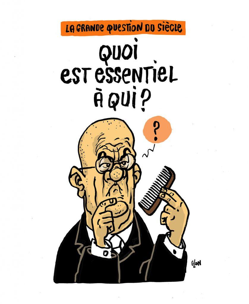 dessin presse humour coronavirus confinement image drôle baccalauréat philo chauves Jean-Michel Blanquer