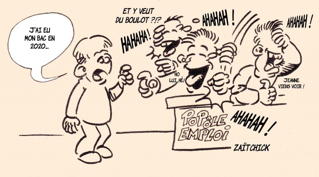 dessin presse humour baccalauréat 2020 image drôle Pôle Emploi travail Éducation Nationale