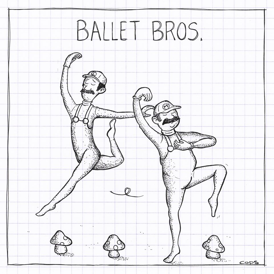 gag image drôle balai brosse dessin blague humour ballet Mario Bros
