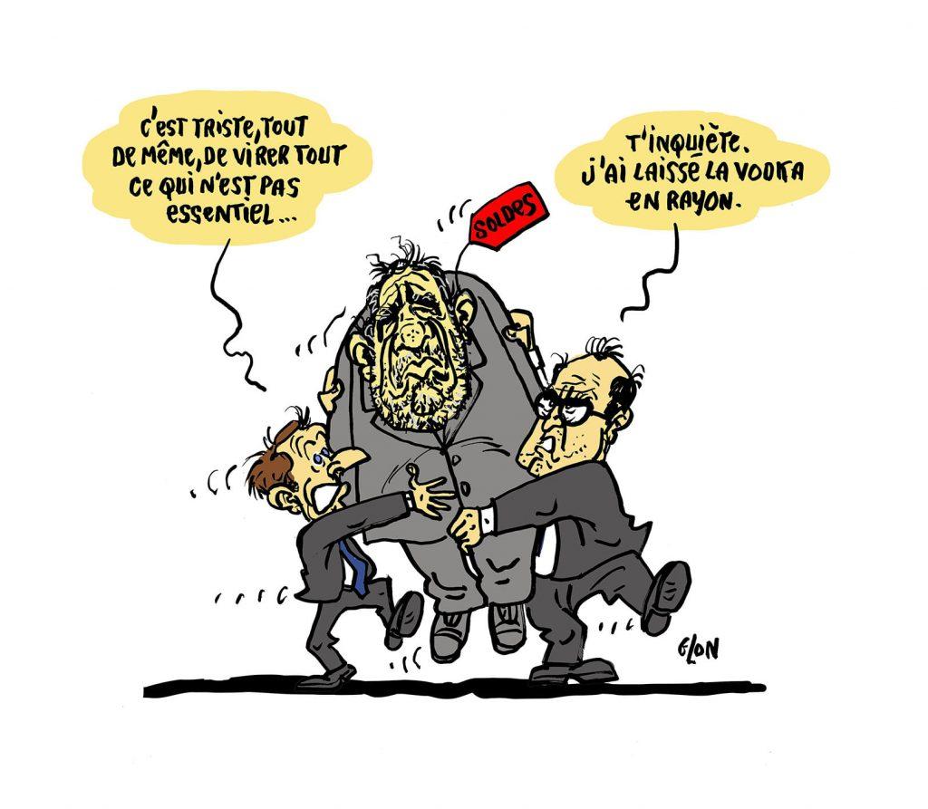 dessin presse humour coronavirus confinement image drôle Emmanuel Macron Jean Castex Christophe Castaner