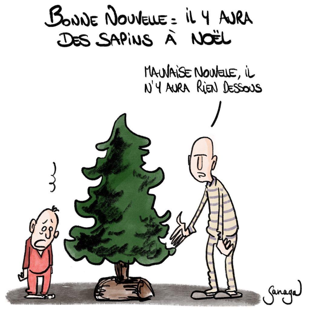 dessin presse humour coronavirus confinement image drôle sapins Noël