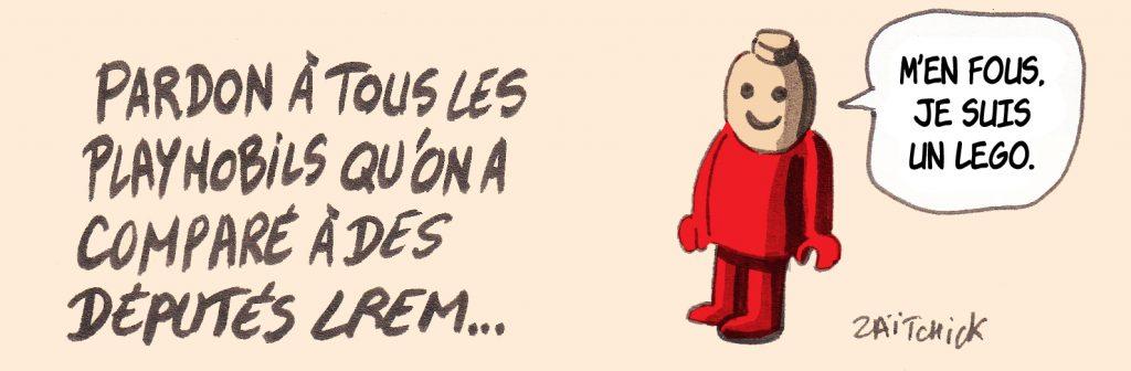 dessin presse humour députés LREM image drôle Playmobil Lego
