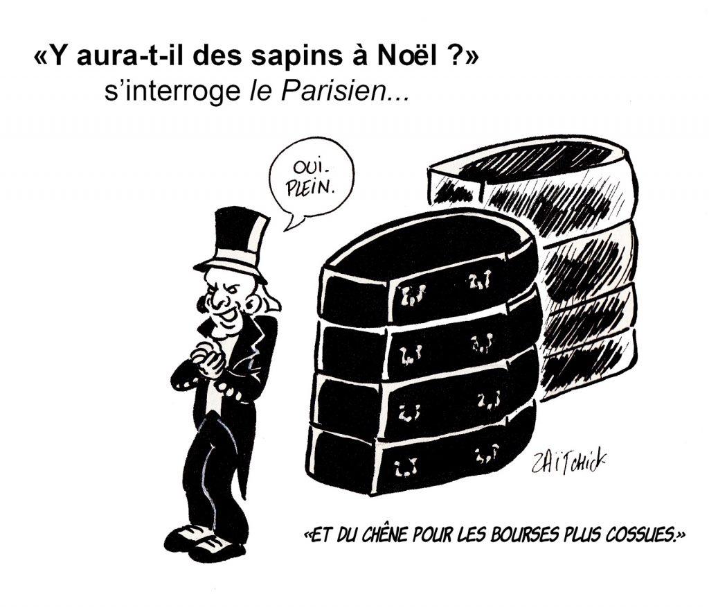 dessin presse humour coronavirus confinement image drôle Noël sapin cercueil