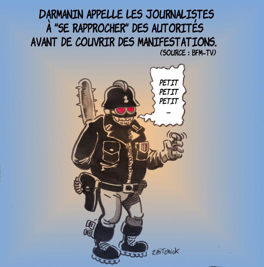 dessin presse humour loi sécurité globale image drôle journalistes manifestations Gérald Darmanin