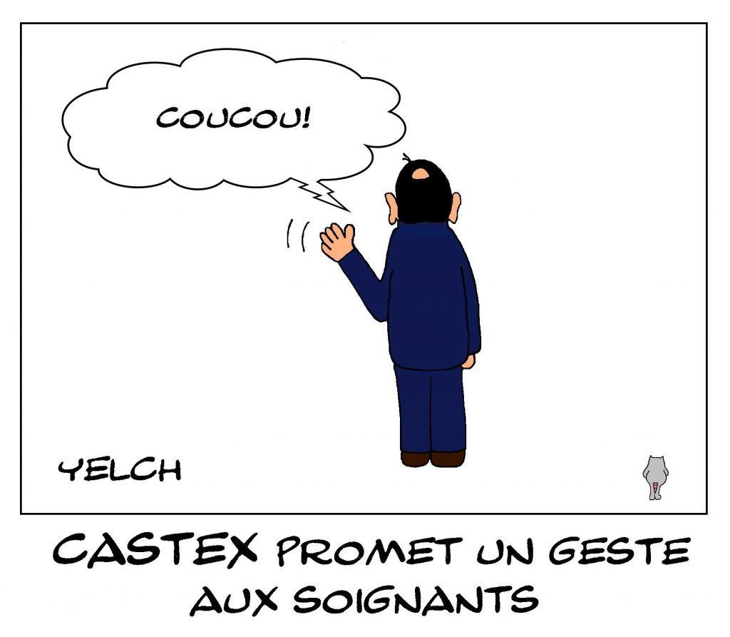 dessins humour coronavirus Jean Castex image drôle geste soignants