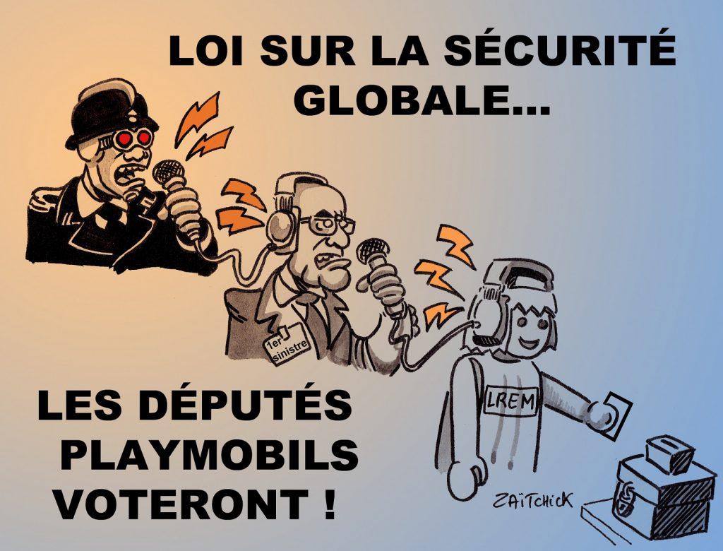 dessin presse humour loi sécurité globale image drôle vote députés LREM Playmobil
