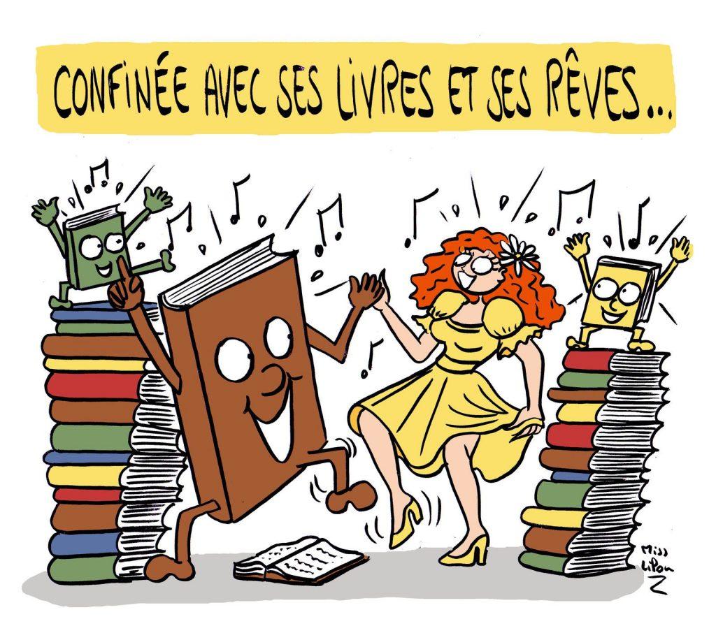 dessin presse humour confinement coronavirus image drôle reconfinement livres lecture rêves