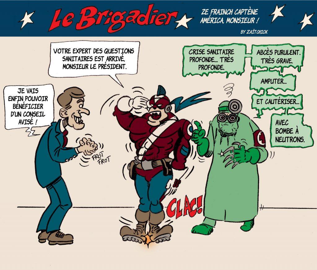 image drôle Le Brigadier dessin humour coronavirus Emmanuel Macron crise sanitaire