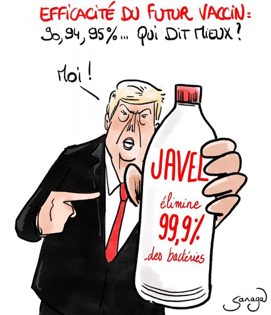 dessin presse humour coronavirus vaccin image drôle Donald Trump Javel