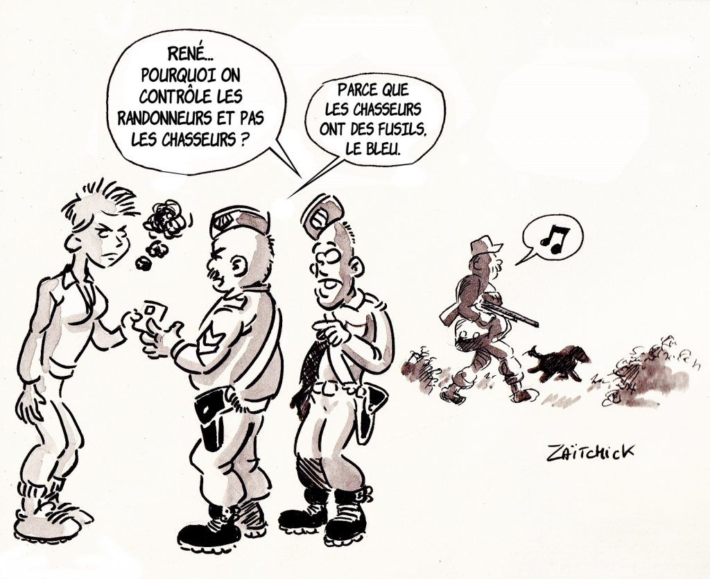 dessin presse humour coronavirus confinement image drôle contrôle randonneurs chasseurs