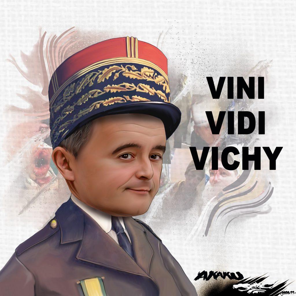 dessin presse humour sécurité globale image drôle Gérald Darmanin Vichy