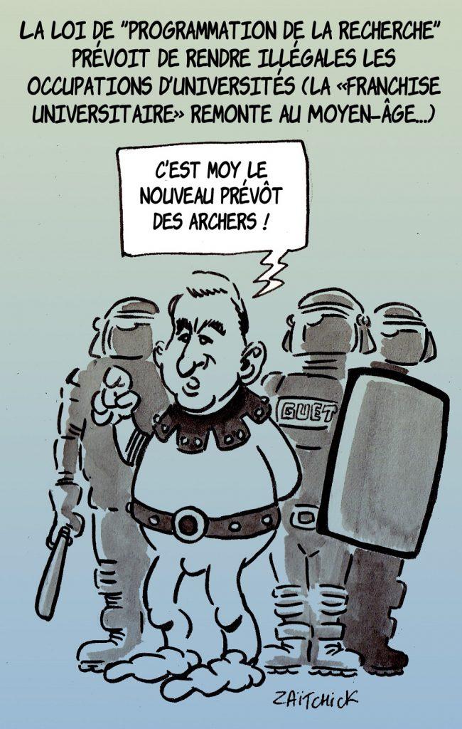 dessin presse humour loi programmation recherche image drôle universités Gérald Darmanin