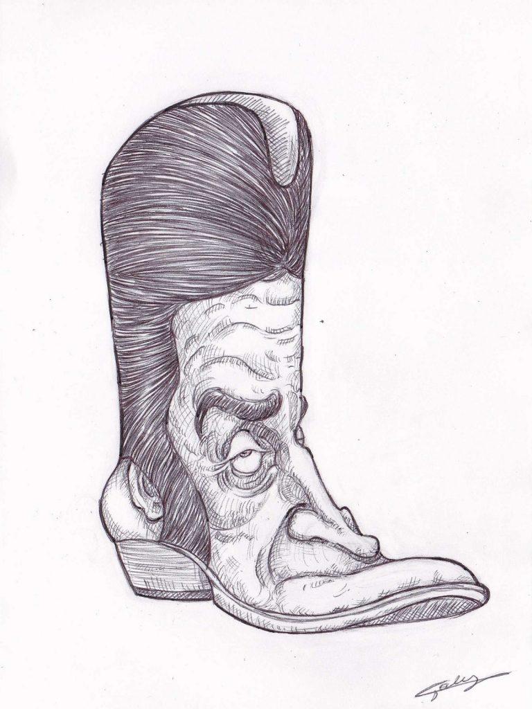image drôle Dick Rivers dessin humour santiags