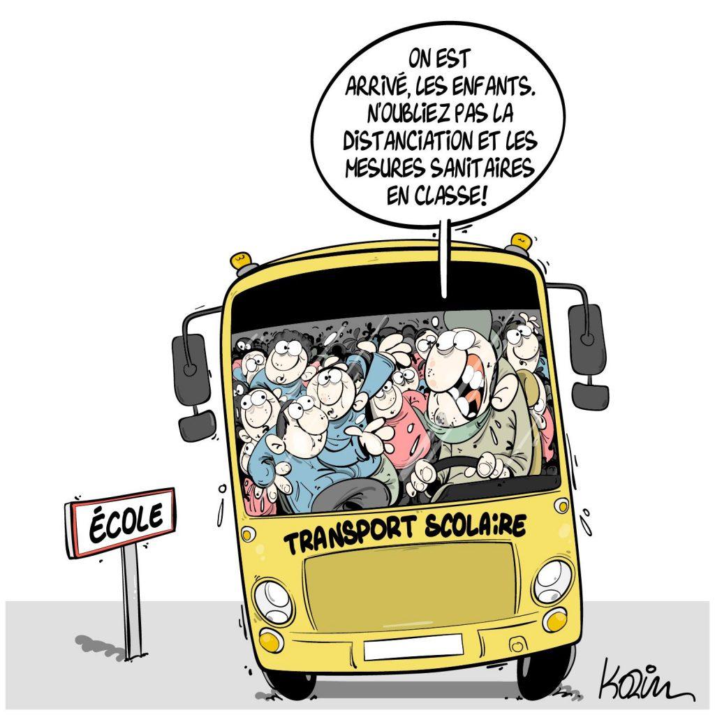 dessin presse humour coronavirus Algérie image drôle covid-19 école gestes barrières