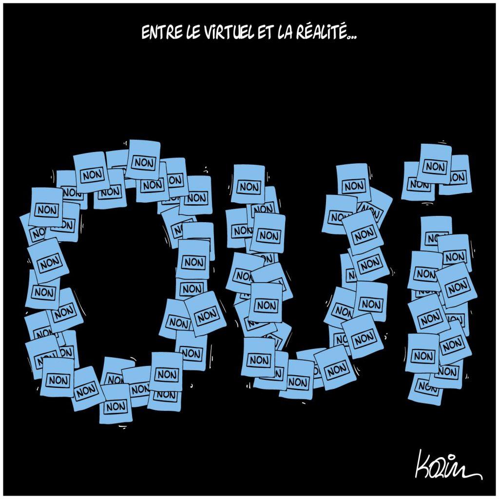 dessin presse humour virtuel réalité image drôle élections référendums
