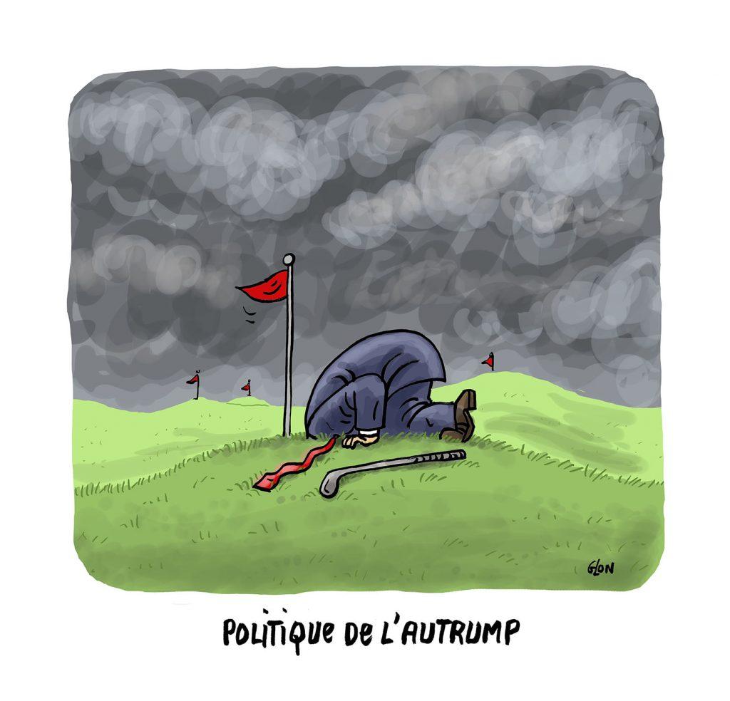 dessin presse humour États-Unis image drôle Donald trump golf