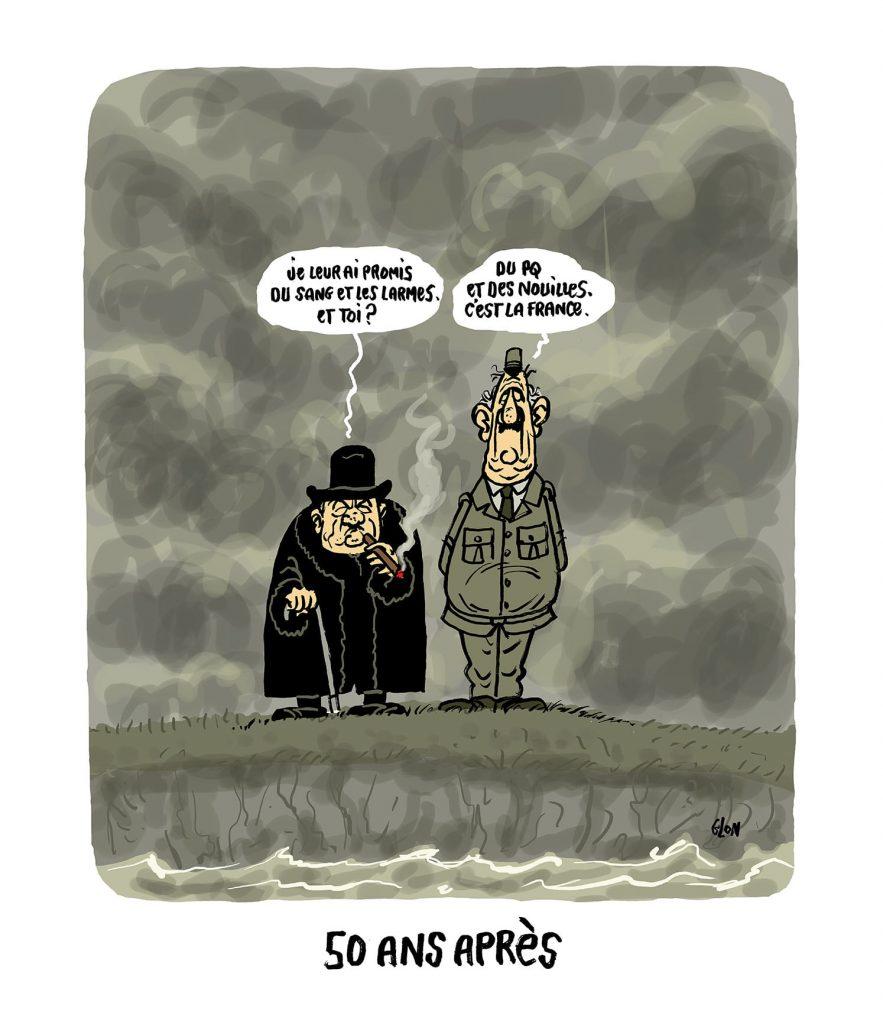 dessin presse humour Winston Churchill coronavirus image drôle Charles de Gaulle covid19