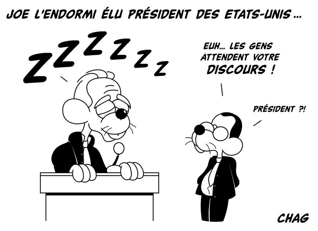 dessin humoristique président États-Unis image drôle Joe Biden endormi