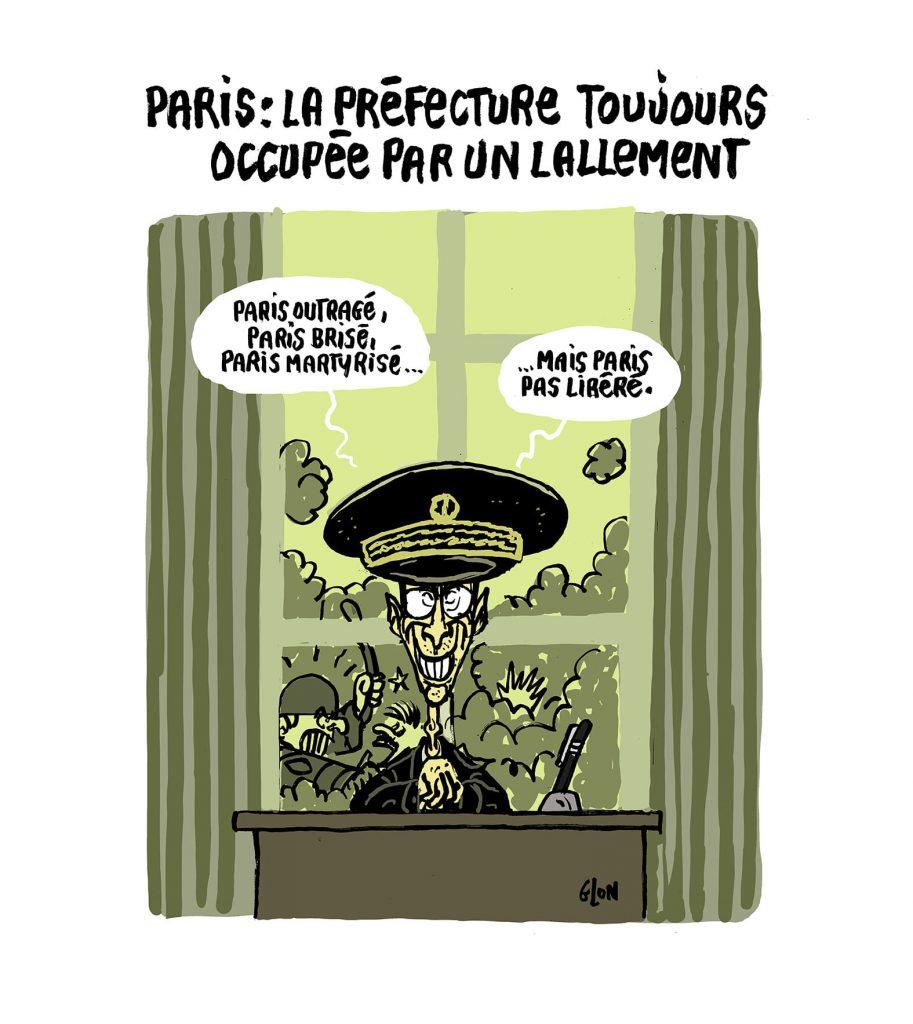 dessin presse humour Préfet Lallement image drôle démantèlement camp migrants Place République